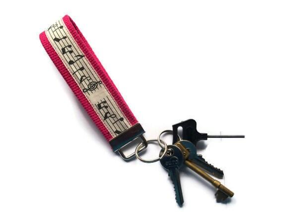 Wristlet Key Ring  - pink cotton webbing- musical notes ribbon- UK Seller