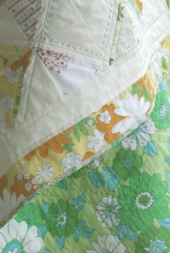 Baby Quilt Vintage Linens Green Yellow Quilt Retro Quilt