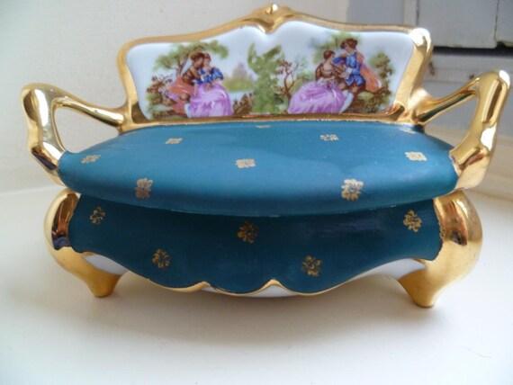 Settee Trinket Box,  Limoges, Lourdes Souvenir, French Vintage