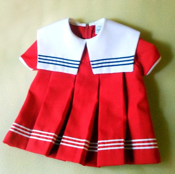 Adorable Wonderland Vintage Sailor Dress Toddler 2t Red White Blue