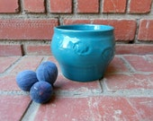 Heavy Turquoise Candy/Change Dish with Stamped Flower Design