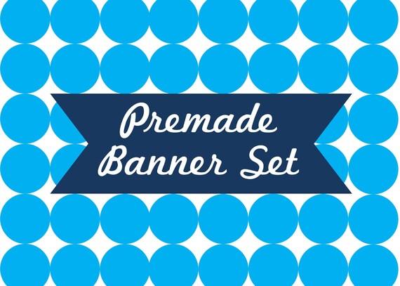 Premade Banners OOAK Banners Premade Banner Set Logo Design Custom Logo Branding Package Abstract Banner Set 6 Piece Set Blue Banners