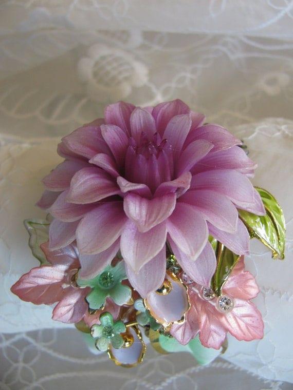 Vintage Sexy Lavender Garden Victorian Floral Rhinestone Costume Jewelry Bracelet Cuff