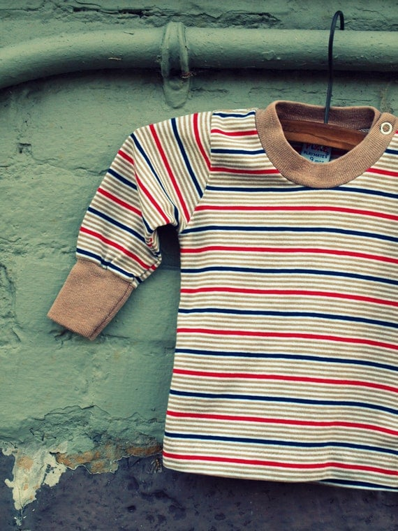 vintage pixie playmates striped navy red brown and white baby shirt