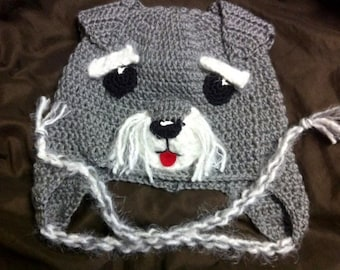 Crochet Hat, Schnauzer Earflap Hat, Made to Order
