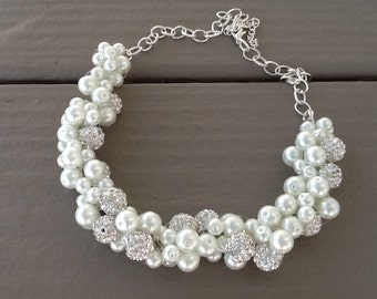 Chunky White, Pearl and Rhinestone, Statement Necklace, Bridesmaid Necklace, Bridal Jewelry, Wedding Necklace