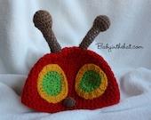 Children's Very Red Caterpillar Crochet Hat Photo Prop