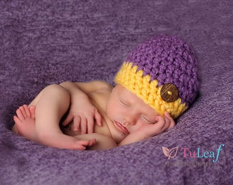 Newborn Chunky Purple and Yellow Two Tone Crochet Hat With Natural Wood Button Photo Prop