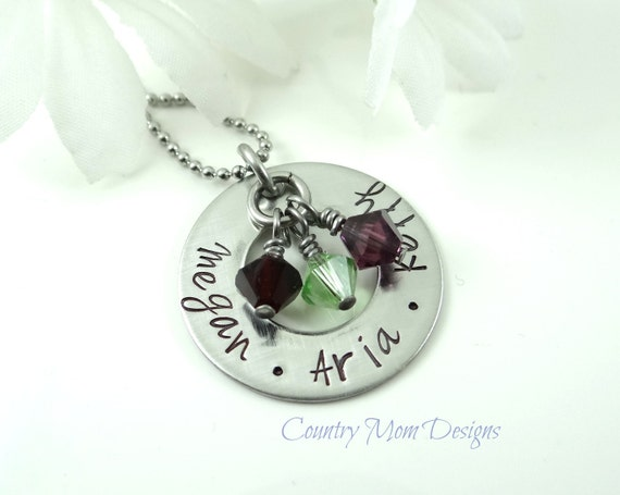 Small Family Birthstone Mother Grandma Hand Stamped Stainless Steel Necklace 1""