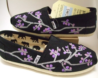 Custom painted Flower or Tribal Print TOMS Shoes
