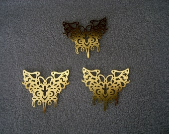 Laser Lace Plated Brass Filigree Component, 43 x 41mm, Bright Gold (3)
