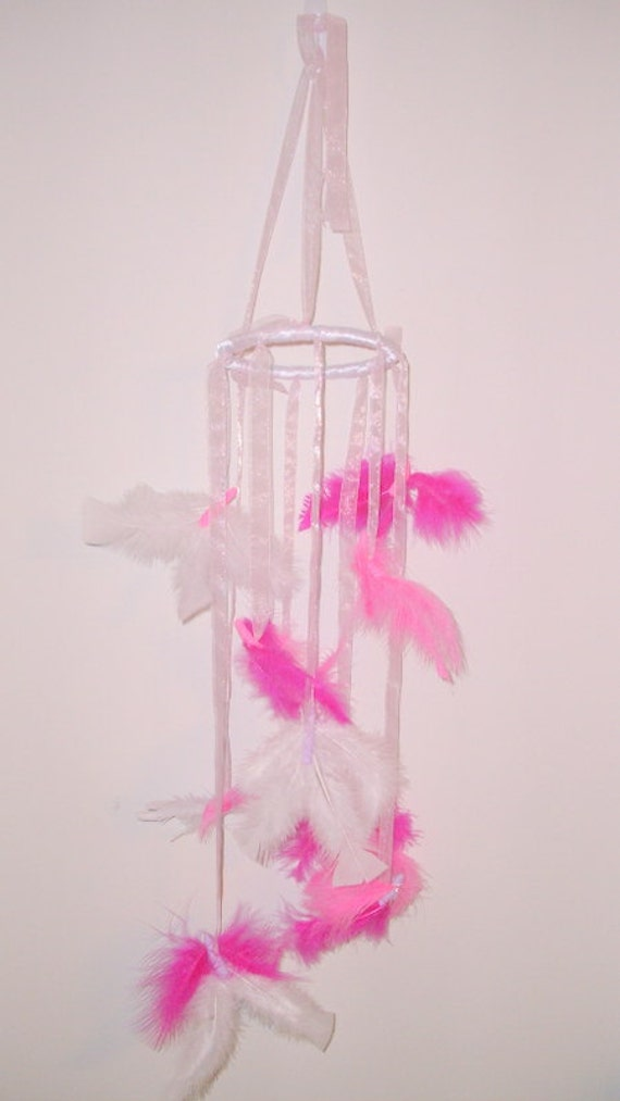 Butterfly mobile, pink and white feather butterflies