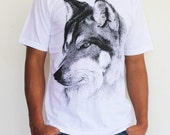 Wolf T-shirt- Fox Tshirt, Animal Screenprint T-shirt, Short Sleeved Shirt 100% cotton T- Shirt  Available In Size S.