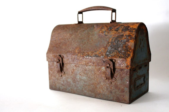 Industrial Rusted Blue Lunch Box - classic, construction, rusty, dome top, weathered, patina, farm fresh, metal