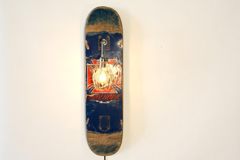 Vintage Skateboard Lamp Sconce Industrial Blue Wood