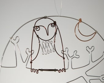 Owl in tree with crescent moon - wire drawing, wire wall hanging, wire mobile, wire art.