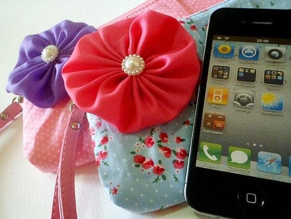 Unique baby shower favor, children bag, children gift : Sweet Blue with Hot Pink Flower on top