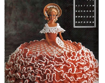 The Antebellum Collection Miss August 1991 Annies Calendar Bed Doll Society  Fashion Doll  Crochet Pattern  Annies Attic 7408