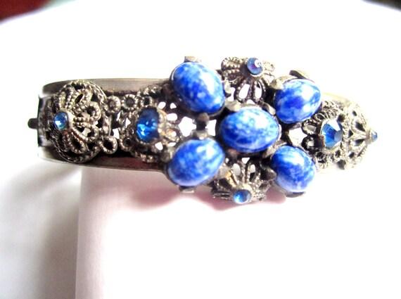 Art Deco Bangle Bracelet Blue Dragon's Egg Glass 1920s Vintage Wedding Jewelry
