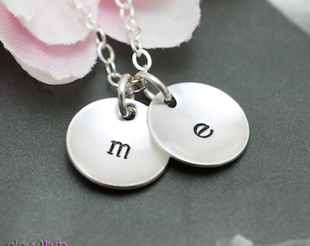 Hand Stamped Initial Jewelry, Domed pendants, Sterling silver, Personalized Jewelry, Two leters, mommy necklace