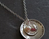 Custom Personalized Hand Stamped Cupped  Remembrance Stacked Sterling Name Memorial Loss Miscarriage Necklace