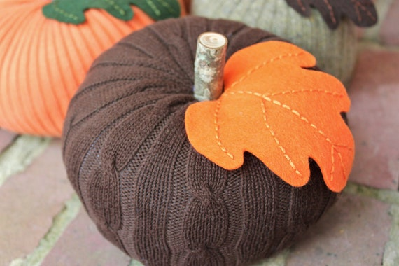 "Upcycled Brown Cable Knit Sweater Pumpkin 5""x6.5"", Fall Decor (Item 9)"