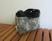 Mini Tote in Organic Black Canvas & ACU: Fully Reversible - Add your logo