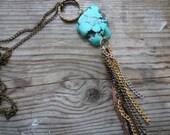 Turquoise pendant necklace, bronze