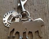 Two English Bulldogs  Custom Keychain Dog Lover