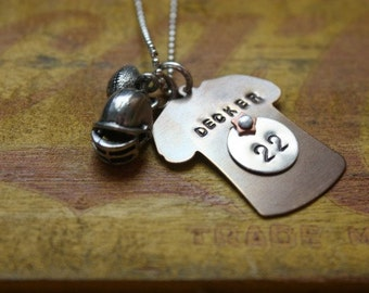 Football Mom/Girlfriend Custom Jersey Sports Necklace, football jewelry