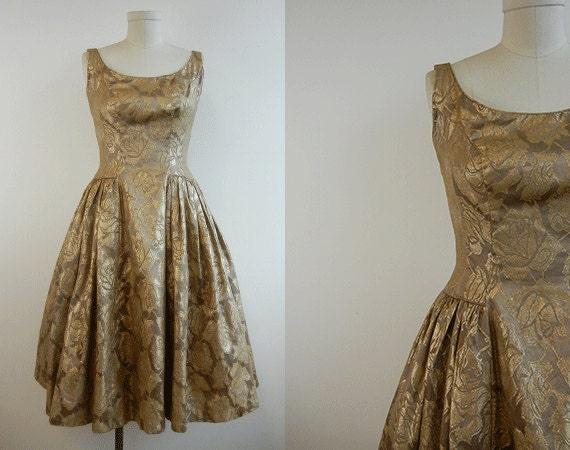 Vintage Gold Brocade Dress