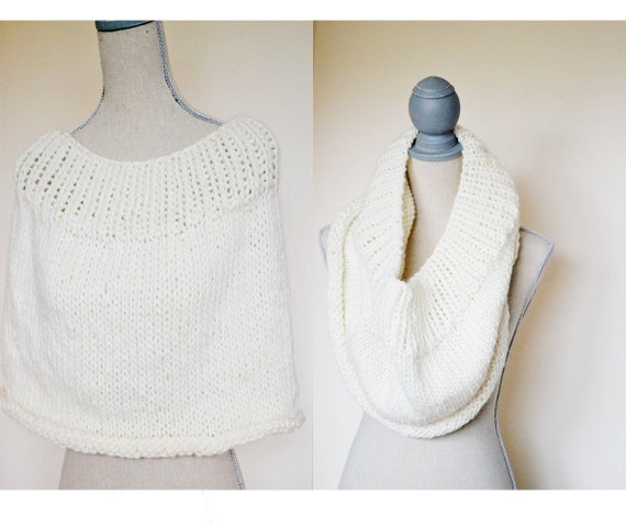 Hand Knit Capelet -  Ready to Ship - Gift for her, Winter Capelet, Ivory Chunky Knit Cowl, Shrug