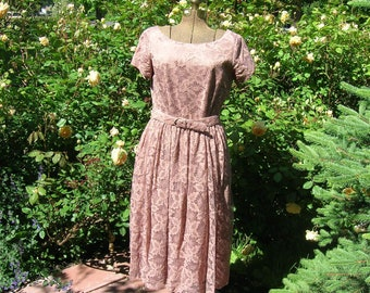 Vintage 50's Rose Sienna Lace Dress . 'New Look' Day to Evening Cocktail .  Toni Todd Label . Taffeta Lined Belted Summer  Wedding Party