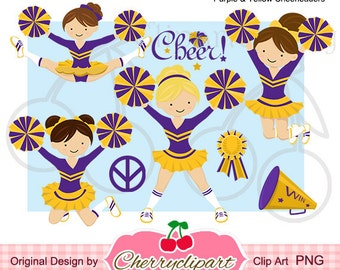 Purple & Yellow Cheerleaders Digital Clipart Set  for -Personal and Commercial Use-paper crafts,card making,scrapbooking,web design