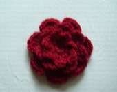 French Rose Brooch, Crochet Brooch, Crochet Flower Brooch,  Crochet Red Flower Brooch