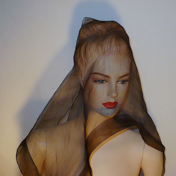 60s Vintage Black Silk Mourning Scarf Mantilla Rectangular Sheer Veil