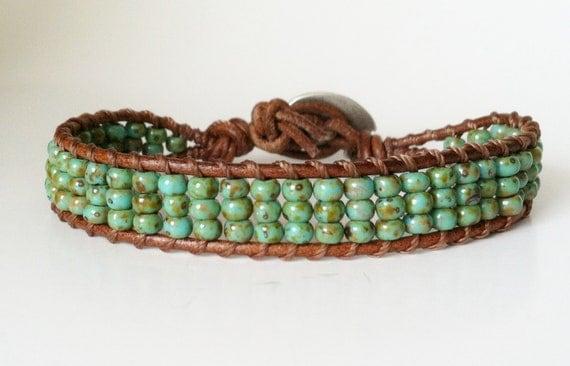 Single Wrap Bracelet - Chan Luu Inspired, 6/0 Turquoise Picasso TOHO Glass Seed Beads