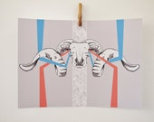 "Bighorn Skull Print - Ram Skull Illustration, 16.5"" x 11.7"" Art Print, Aqua and Red"