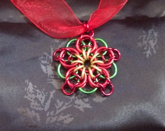 Handmade custom poinsettia chainmaille pendant