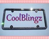 2 Row BLACK DIAMOND Sparkle Rhinestone Crystal License Plate (Black) Frame Bling made w/ Swarovski Elements Crystals