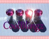 XL Fuchsia HOT PINK Crystal Bling Rhinestone Tire Valve Stem Caps Covers made w/ Swarovski Elements