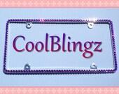Thin AMETHYST PURPLE Rhinestone Crystal Diamond Bling License Plate (Metal) Frame