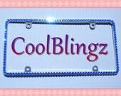 Thin ROYAL BLUE Rhinestone Crystal Diamond Bling License Plate (Metal) Frame