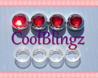 RED Rhinestone Screw Caps Covers for Crystal Bling License Plate Frame