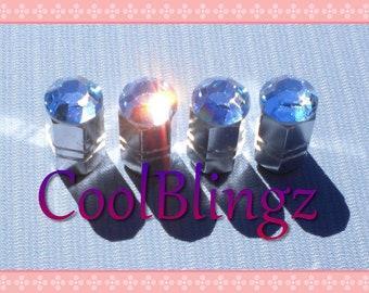 XL LT. BLUE Crystal Bling Rhinestone Tire Valve Stem Caps Covers made w/ Swarovski Elements
