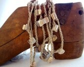 """An Original....Taupe 54"""" long natual stone beaded necklace, bracelet or anklet with brass T bar toggle clasp."""