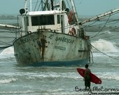 Shrimp Boat Shipwreck and Surfer Photograph, Surfing Photography, Surf Room Wall Decor,  All Things Coastal, 5 x 7 Matted Print