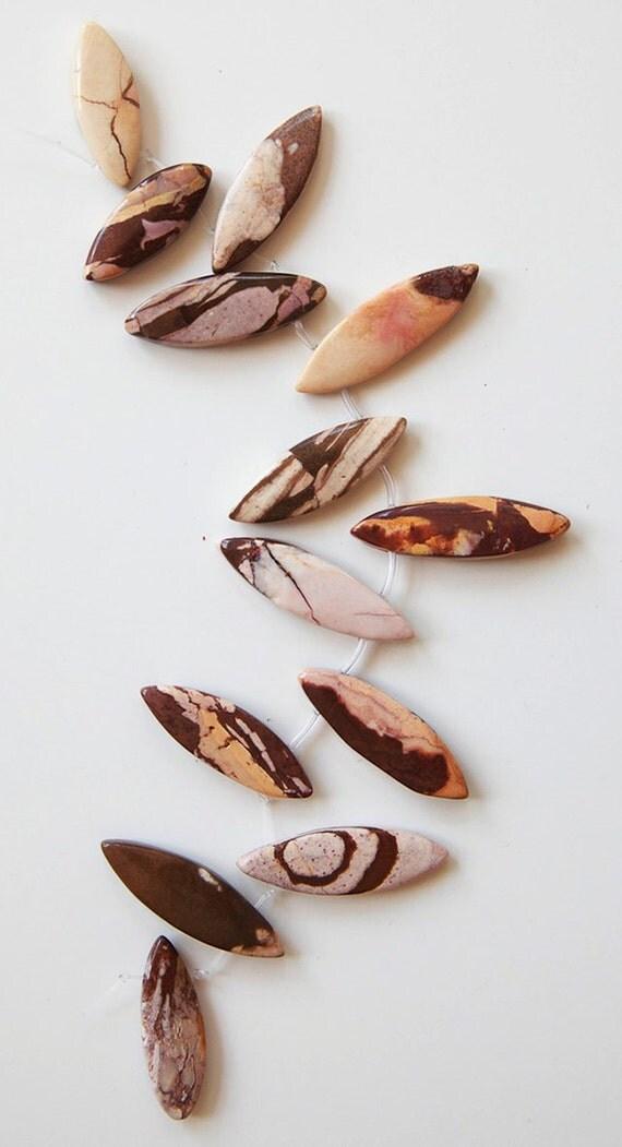 Artistic Jasper Marquis Pendant Beads - Strand A
