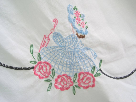 Vintage Embroidered Tablecloth, Cutter Cloth, 39 x 34, Craft, Vintage Material, Southern Belles, Vintage Linens
