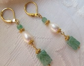 Carved adventurine with ivory pearls and gold vermeil bead dangle earrings On Hold For Cheryl
